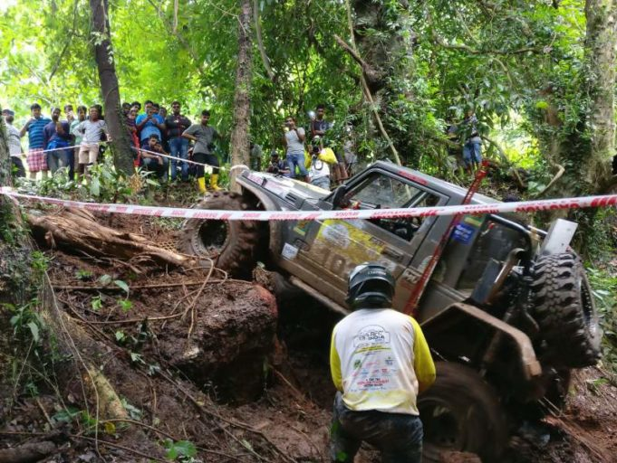 A vehicle climbing up a rocky surface while attempting a Special Stage on Day 1 of Force Gurkha RFC India 2017